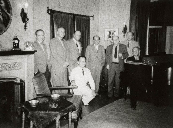 Modernists in exile in America. From left to right: Rudolf Kolisch, George Szell, Max Horkheimer, Felix Khuner, Arnold Schönberg, Hanns Eisler, an unidentified person, and Eduard Steuermann