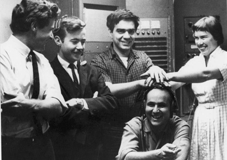 The San Francisco Tape Music Center in 1964. From left to right: Tony Martin Bill Maginnis, Ramon Sender, Morton Subotnick, and Pauline Oliveros.