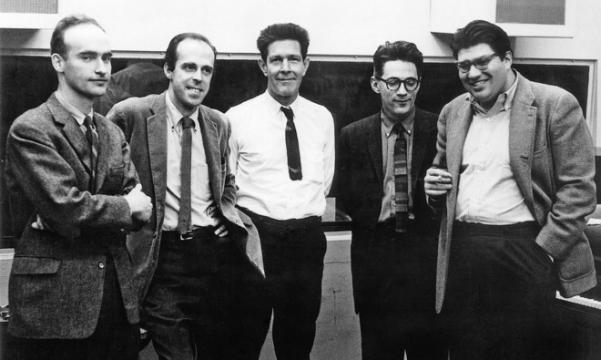 The New York School in 1962: Christian Wolff, Earle Brown, John Cage, David Tudor, and Morton Feldman.