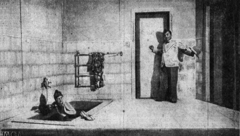 "The infamous ""bathroom scene"" from the premiere of Paul Hindemith's opera Hin und Zurück at the Kroll Opera in Berlin, in 1929."